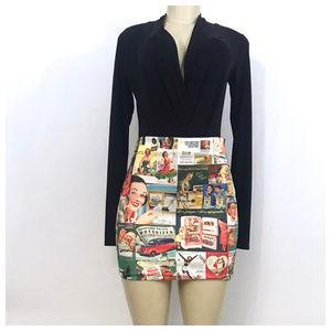 Dresses & Skirts - Black Multi Color Magazine Mini Skirt Sm